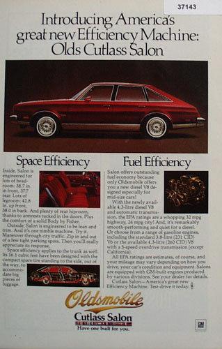 Oldsmobile Cutlass Salon Car 1978 Ad