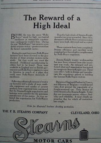 Stearns Motor Cars 1919 Ad