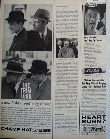 Tums, Chap Stick 1959 Ad