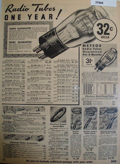 Silvertone Radio Tubes And Accessories 1935 Ad