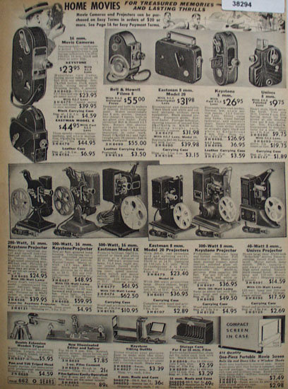 Sears Home Movie Cameras, Projectors And Accessories 1938 Ad