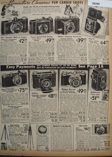 Sears Miniature Cameras 1938 Ad