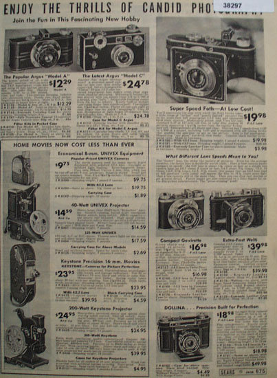 Sears Argus Cameras 1938 Ad
