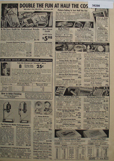 Sears Quality Supplies for the Amateur Photographer 1938 Ad