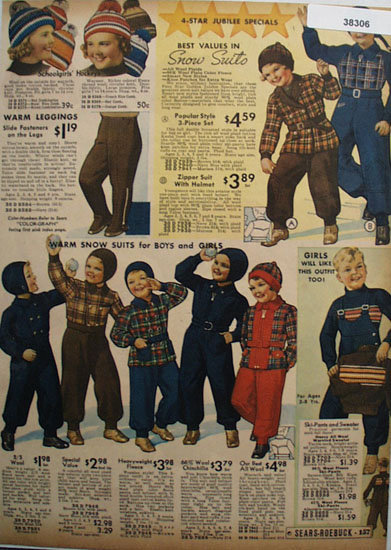 Young Boys and Girls Snow Suits 1936 Ad