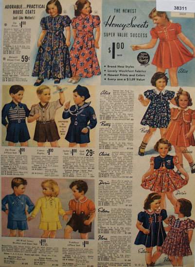 Sears Honeysweets Girls Clothes 1938 Ad