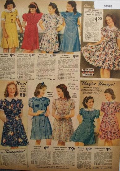 Sears Big Apple Swing Girl Dresses 1938 Ad
