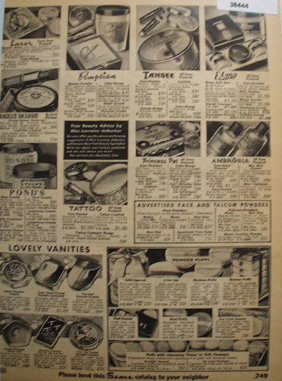 Sears Vanities Creams And Powder Puffs 1935 Ad