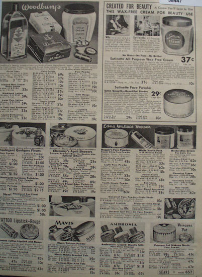 Sears Cosmetics 1938 Ad