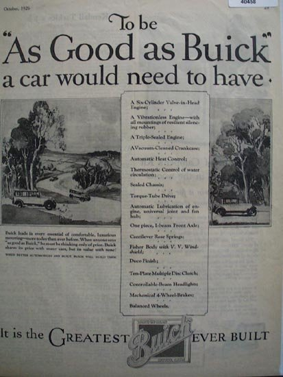 Buick Motor Cars 1926 Ad
