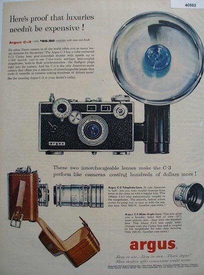 Argus C 3 Camera 1956 Ad