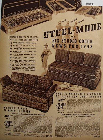 Sears Studio Couch 1938 Ad
