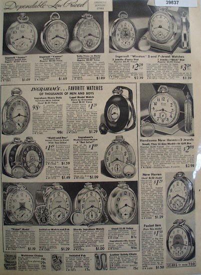 Sears Ingrahams Pocket Watches 1938 Ad