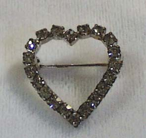 Crystal Heart Pin Silver Tone