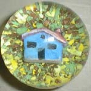 Murano paperweight sulfide, house inside it