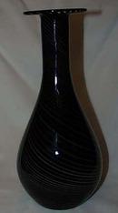 Murano black vase, threaded with gray shades