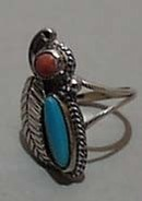 Turquoise & Coral Sterling Ring