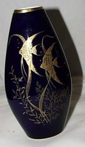 Cobalt vase with Gold fish