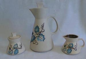 Purinton ? Ware coffee pot set handpainted