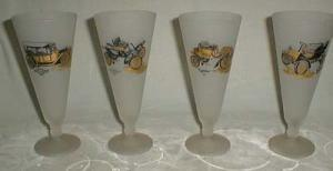 Beer glasses with Chevrolet, Rambler, Oldsmobile and Cadillac