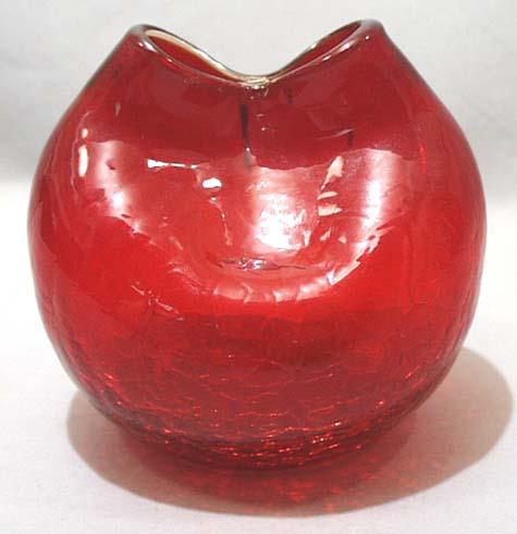 Older Red Crackle Glass Wedding Jug Vase