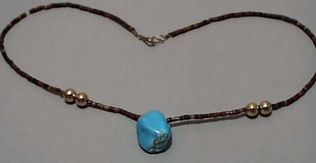 Turquoise & Brown Beads Necklace