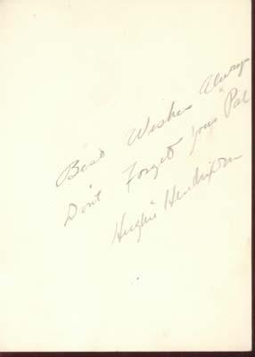 Photo & Autograph Hughie Hendrixson
