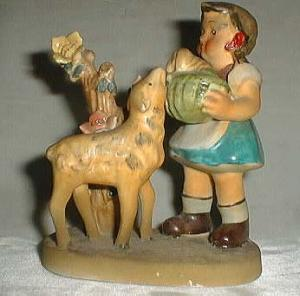Chase Hand Decorated Figurine Hummel type lamb & girl