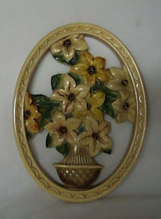 OLD plaster wall hanging daffodil type flower
