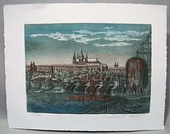 Limited Edition Town Scene in Blue/Brown Tone