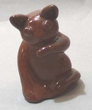 Red Clay Cat Licking His Paw  Folk Art