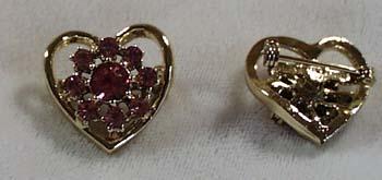 Pair of Pink Crystal Heart Pins