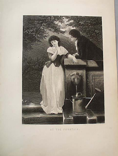 Engraved Print Romance At The Fountain1888