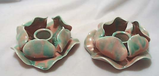 Multicolor art pottery candle holders