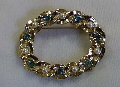 Gerry's Blue Crystal Faux Pearl Pin