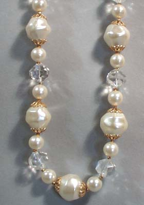 Faux Pearl and Clear Plastic Necklace