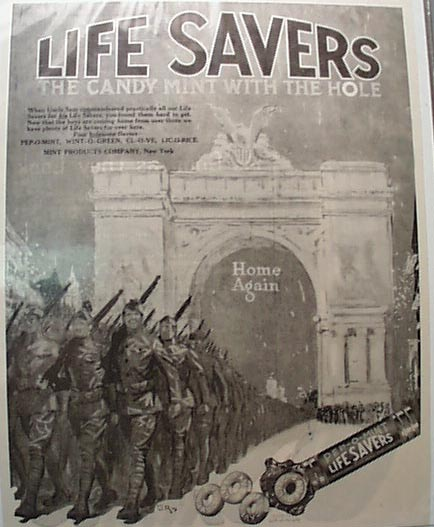 1919 WWI Life Saver Candy Ad