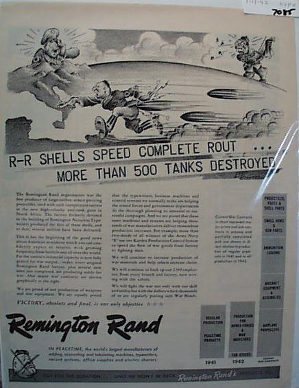 Remington Rand R-R Shells 1943 Ad