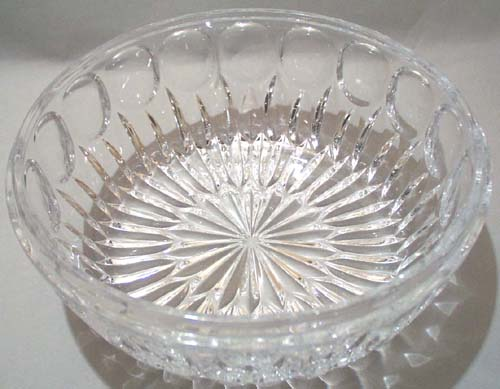 Heavy Lead Crystal Bowl In Thumbprint Design
