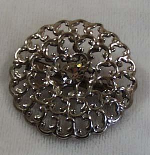 Brooch Silver Tone & Crystal