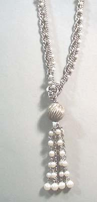 Triple Strand Silver Tone Faux Pearl Necklace