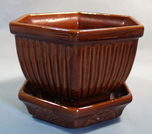 Haeger Brown Planter with Tray