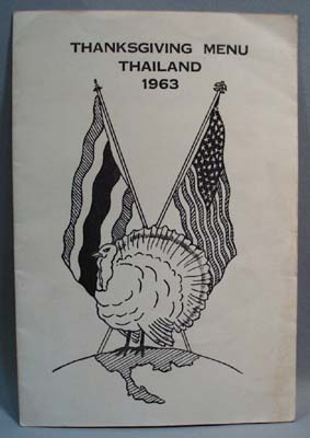 1963 Thnaksgiving Menu US Forces in Thailand