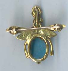 Cabachon Turquoise & Pearl Creature Pin