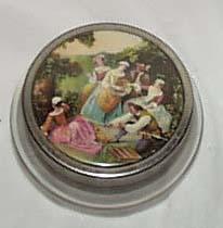 Glass bottom powder jar, tin lid with scene
