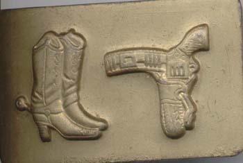 Cowboy boots & six shooter belt buckle