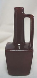 Oil cruet, burgundy glaze with squared handle