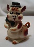 Ceramic Stoneware Pig With Hat Shaker Older