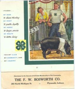 1957 4-H calandar, F.W. Bosworth Co. Plymouth Indiana