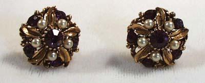 Faux Amethyst & Faux Pearl Earrings